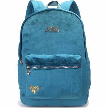 Fluwelen rugzak/schooltas petrol blauw/groen kind