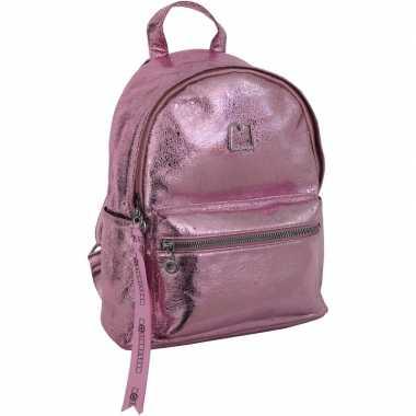 Metallic rugzak/schooltas roze kind