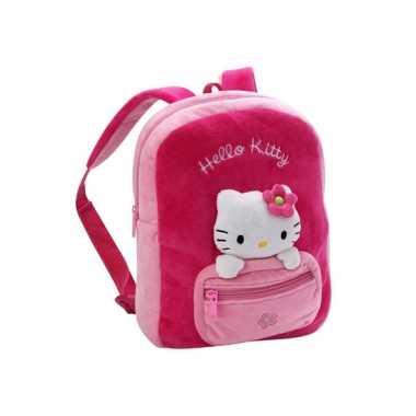 Pluche hello kitty tas roze schooltas kind