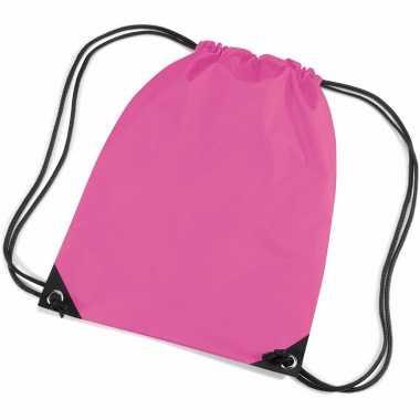 X stuks fuchsia roze schooltas/ schooltasjes rijgkoord kind