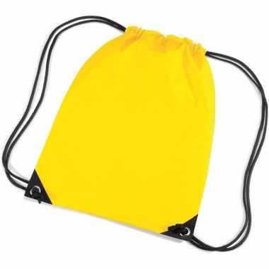 X stuks gele schooltas/ schooltasjes rijgkoord kind
