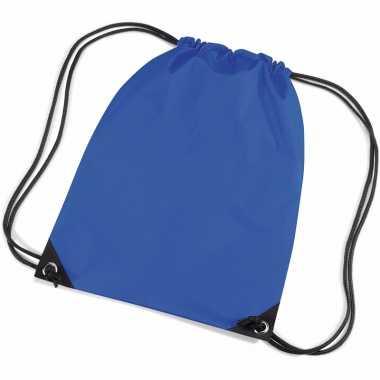 X stuks kobalt blauwe schooltas/ schooltasjes rijgkoord kind