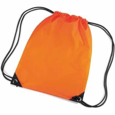 X stuks oranje schooltas/ schooltasjes rijgkoord kind