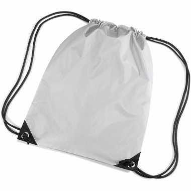 X stuks zilveren schooltas/ schooltasjes rijgkoord kind