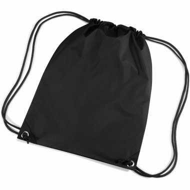 X stuks zwarte nylon schooltas/ schooltasjes rijgkoord kind